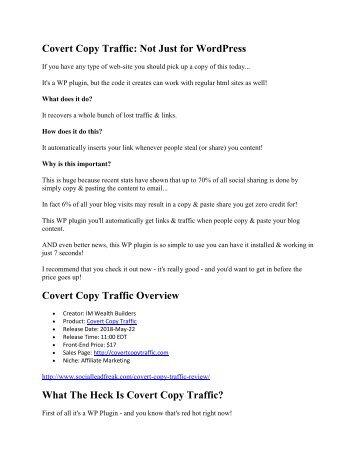 Covert Copy Traffic