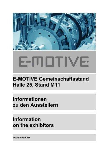 E-MOTIVE Gemeinschaftsstand Halle 25, Stand M11 ... - FVA