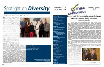 OMSA Chronicle Spring 2010 - University of Rochester