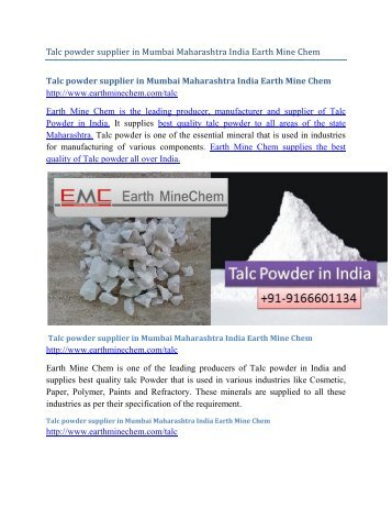 Talc powder supplier in Mumbai Maharashtra India Earth Mine Chem