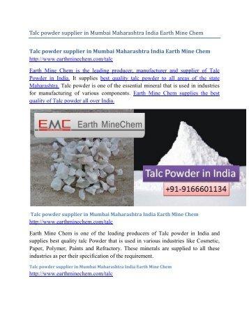 Talc powder supplier in Mumbai Maharashtra India Earth Mine Chem