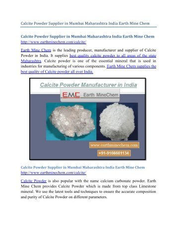 Calcite Powder Supplier in Mumbai Maharashtra India Earth Mine Chem