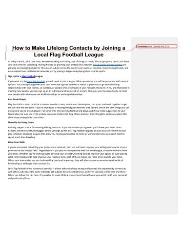 How to Make Lifelong Contacts by Joining a Local Flag Football League