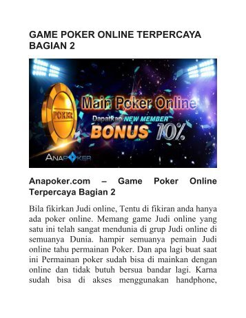 GAME POKER ONLINE TERPERCAYA BAGIAN 2
