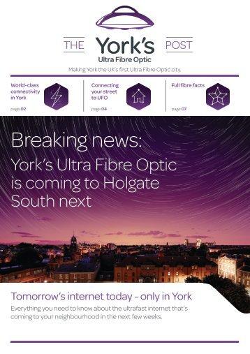 TalkTalk York's Ultra Fibre Optic Newsletter May 2018 - Holgate South