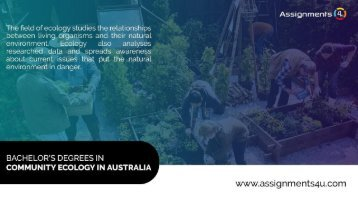 Top universities in Australia which provide Bachelor's Degree in Community Ecology