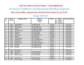 NOVEMBER 2011 For disclosure of OMR/Answer Key/Question ...