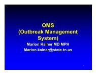 OMS (Outbreak Management System) - the Tennessee Department ...