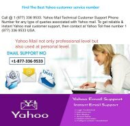 Yahoo Technical  Help Number +1-877-336-9533
