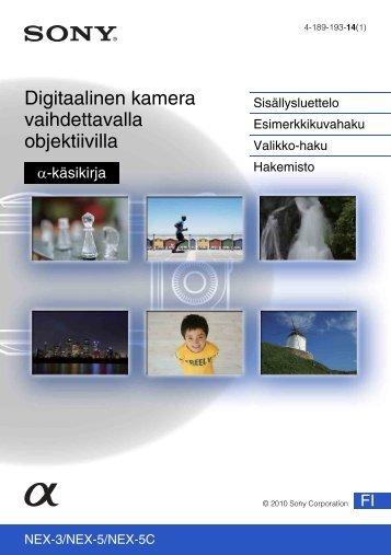 Sony NEX-5D - NEX-5D Guide pratique Finlandais