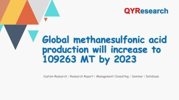 Global methanesulfonic acid production will increase to 109263 MT by 2023