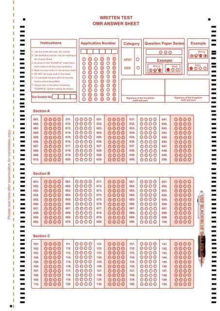 Sample OMR Answer Sheet