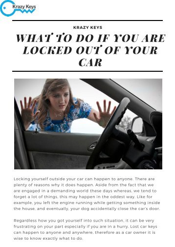 What to Do If You are Locked Out of Your Car By Krazy Keys