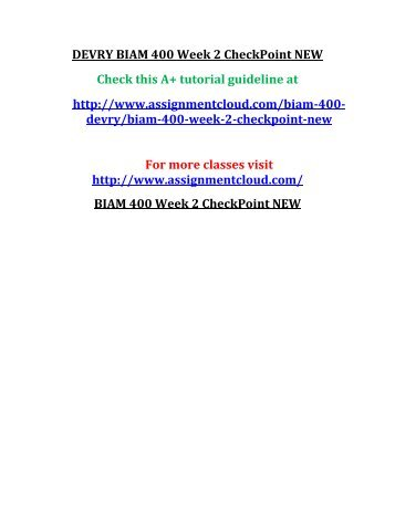 DEVRY BIAM 400 Week 2 CheckPoint NEW