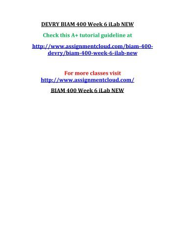 DEVRY BIAM 400 Week 6 iLab NEW