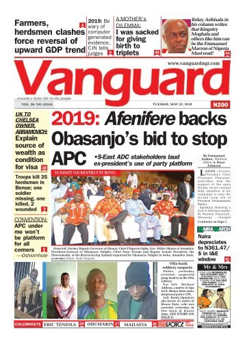 22052018 - 2019: Afenifere backs Obasanjo's bid to stop APC