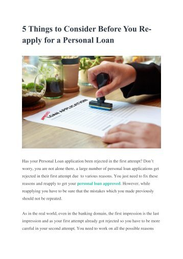 5 Things to Consider Before You Re-apply for a Personal Loan