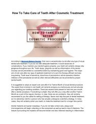 After Cosmetic Treatment Oral Care Tips