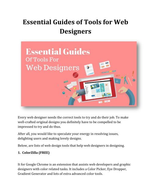 Essential Guides Of Tools For Web Designers