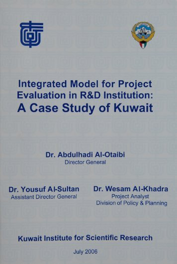 Integrated Model for Project Evaluation in R&D Institution: A Case ...