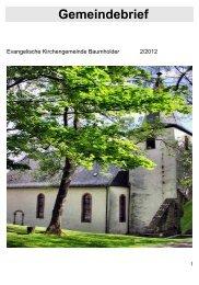 Gemeindebrief - Kirchenkreis Obere Nahe
