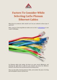 Factors To Consider While Selecting Cat5e Plenum Ethernet Cables