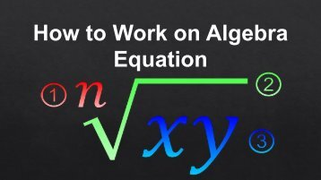 How to work on algebra equation