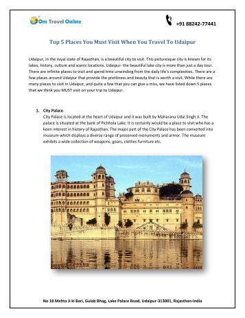Top 5 Places you must visit when you travel to Udaipur