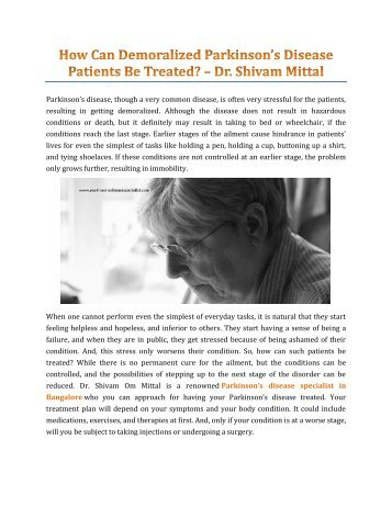 How Can Demoralized Parkinson's Disease Patients Be Treated? – Dr. Shivam Mittal