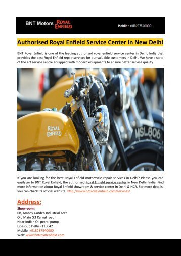 Royal Enfield Bike Dealers In Delhi-BNT Royal Enfield