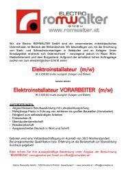 Stellenausschreibung Electro Romwalter GmbH