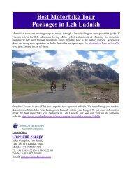 Best Motorbike Tour Packages in Leh Ladakh