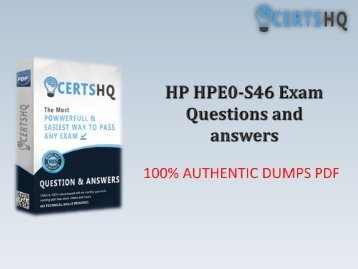 Get Real HPE0-S46 PDF Exam Questions Dumps