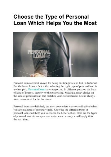 Choose the Type of Personal Loan Which Helps You the Most