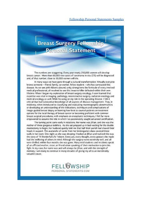 Fellowship Personal Statements Samples