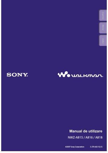 Sony NWZ-A815 - NWZ-A815 Mode d'emploi Roumain
