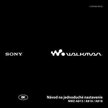 Sony NWZ-A815 - NWZ-A815 Mode d'emploi Slovaque