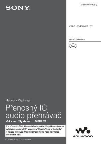 Sony NW-E103 - NW-E103 Istruzioni per l'uso Ceco