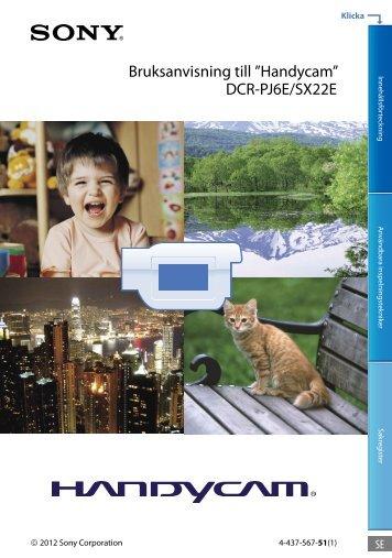 Sony DCR-PJ6E - DCR-PJ6E Consignes d'utilisation Suédois