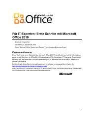 Erste Schritte mit Microsoft Office 2010 - PC-Betriebssysteme