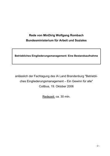 Rede von MinDirig Wolfgang Rombach ... - Brandenburg.de