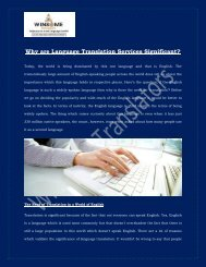 Why are Language Translation Services Significant