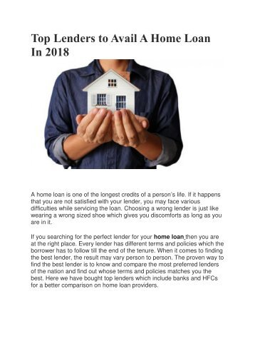 Top Lenders to Avail A Home Loan In 2018