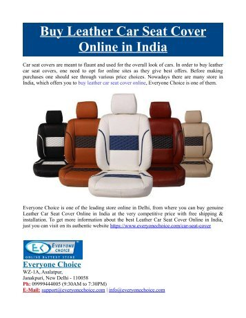 Buy Leather Car Seat Cover Online in India