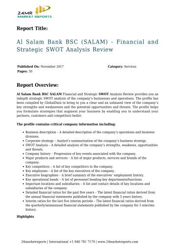 swot analysis of bank al falah Habib bank limited - strategy, swot and corporate finance report, is a source of comprehensive company data and information the report covers the company's structure, operation, swot analysis, product and service offerings and corporate actions, providing a 360 view of the company.