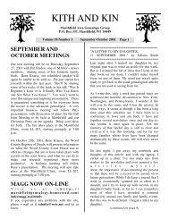 KITH AND KIN - Marshfield Area Genealogy Group