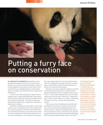 Putting a furry face on conservation - Augustana College