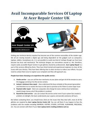 Avail incomparable services of laptop at Acer Repair Center