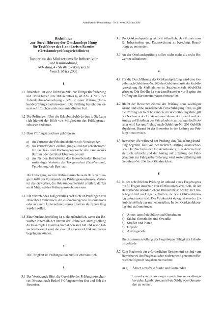 Richtlinien zur Durchführung der Ortskundeprüfung - Brandenburg.de