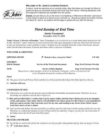 1114 liturgy.pub - St. John's Lutheran Church, Burlington, Wisconsin